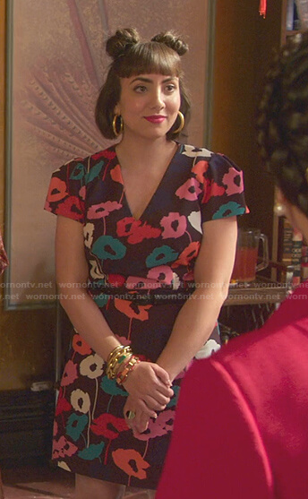 Magda's multicolor floral mini dress on Good Trouble