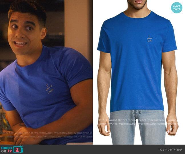 I Don't Care T-Shirt by Maison Labiche worn by Vivek Shah (Jordan Buhat) on Grown-ish