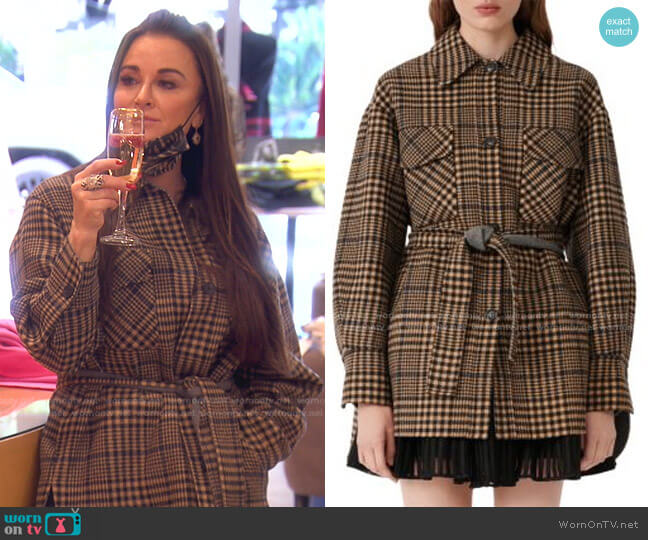 Gavino Plaid Belted Coat by Maje worn by Kyle Richards  on The Real Housewives of Beverly Hills