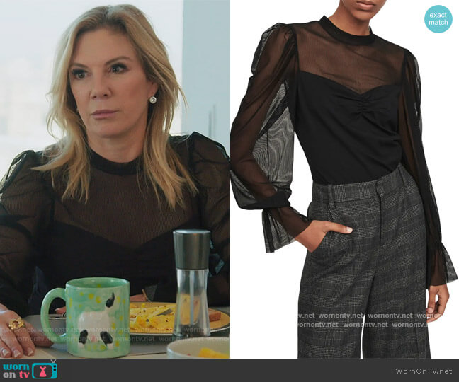 Tilda Stripe Mesh Top by Maje worn by Ramona Singer  on The Real Housewives of New York City