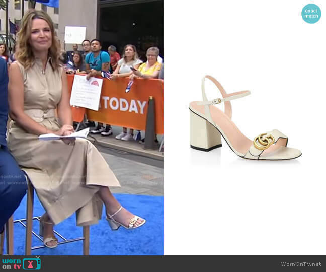 Marmont GG Ankle-Strap Sandals by Gucci worn by Savannah Guthrie  on Today