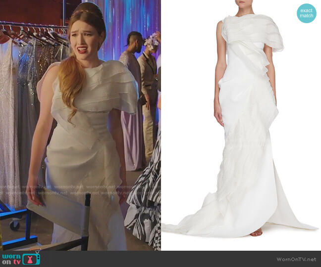 Serene Tiered Silk-Blend Gown by Maticevski worn by Kirby Anders (Maddison Brown) on Dynasty
