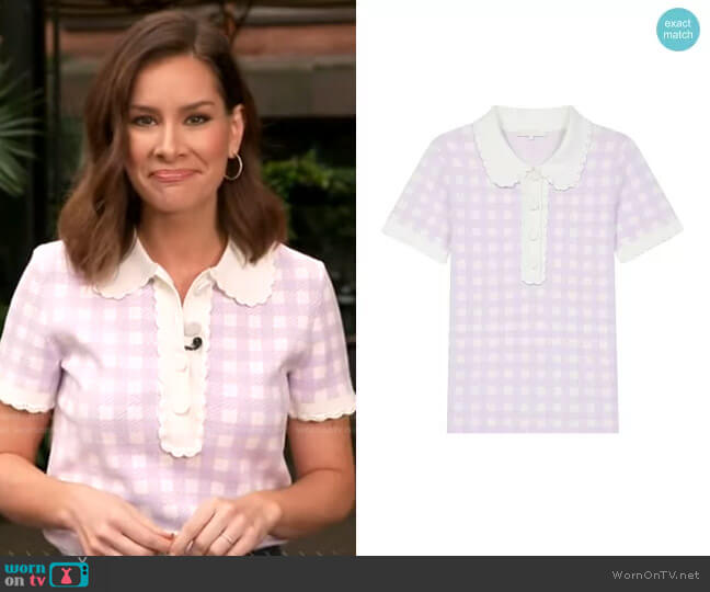 Micro Checked Knit Polo by Maje worn by Rebecca Jarvis  on Good Morning America