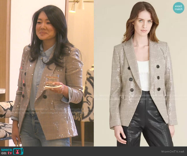 Miller Sequin Dickey Jacket by Veronica Beard worn by Crystal Kung Minkoff  on The Real Housewives of Beverly Hills