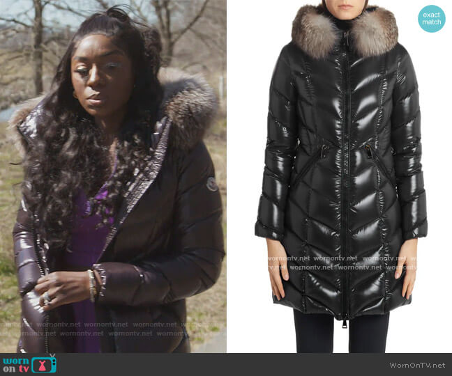 Fulmarus Quilted Down Puffer Coat by Moncler worn by Wendy Osefo  on The Real Housewives of Potomac