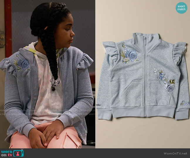 Monnalisa sweatshirt with floral embroidery worn by Millicent (Jaidyn Triplett) on iCarly