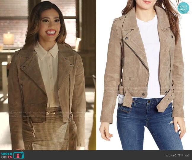 Morning Suede Moto Jacket by BlankNYC worn by Kara Royster on Dynasty