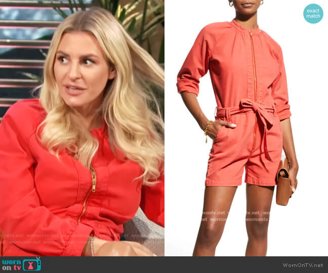 The Gatherer Zip-Front Romper by Mother worn by Morgan Stewart  on E! News