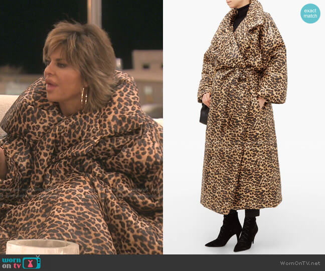 Leopard Sleeping Bag Coat by Norma Kamali worn by Lisa Rinna  on The Real Housewives of Beverly Hills