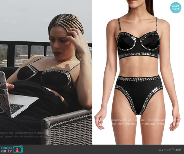 Studded Bustier Bralette Bikini Top by Norma Kamali worn by Robyn Dixon  on The Real Housewives of Potomac