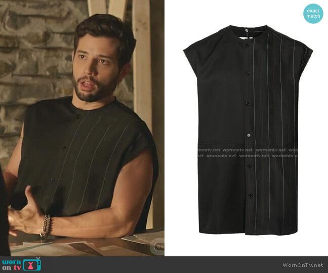 Striped Panel Shirt by OAMC worn by Sam Flores (Rafael de la Fuente) on Dynasty