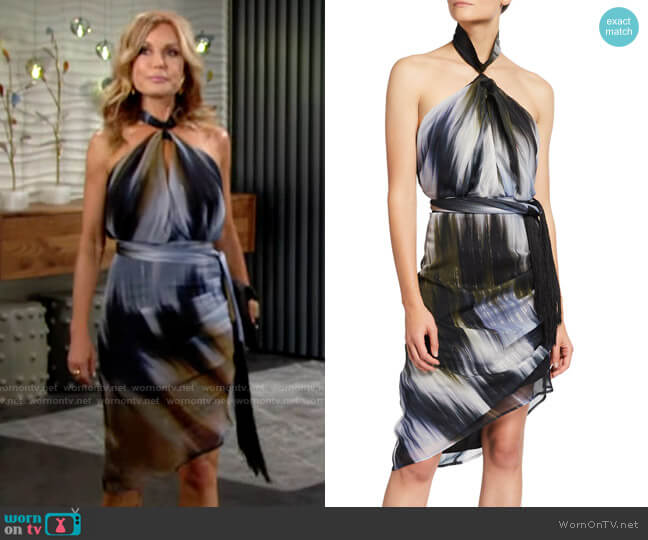 One33 Social Ikate-Print Twist Halter-Neck Dress worn by Lauren Fenmore (Tracey Bregman) on The Young & the Restless
