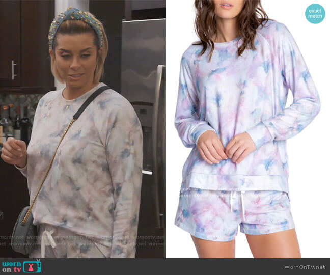 Marble Print Jersey Sweatshirt by PJ Salvage worn by Robyn Dixon  on The Real Housewives of Potomac