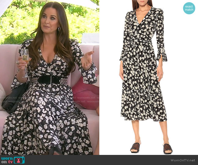 Floral crepe de chine Midi Dress by Ralph Lauren worn by Kyle Richards  on The Real Housewives of Beverly Hills