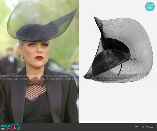 Tulle Sinamay Straw And Mesh Hat by Philip Treacy worn by Alexis Carrington (Elaine Hendrix) on Dynasty