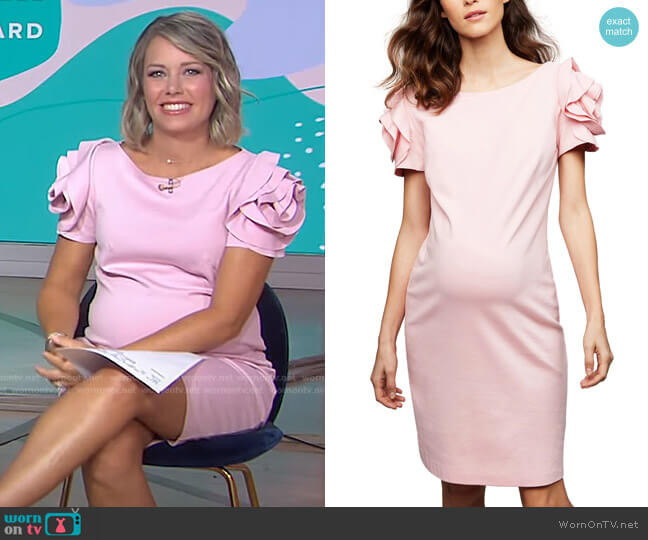 Maternity Ruffled Shift Dress by Pietro Brunelli worn by Dylan Dreyer  on Today