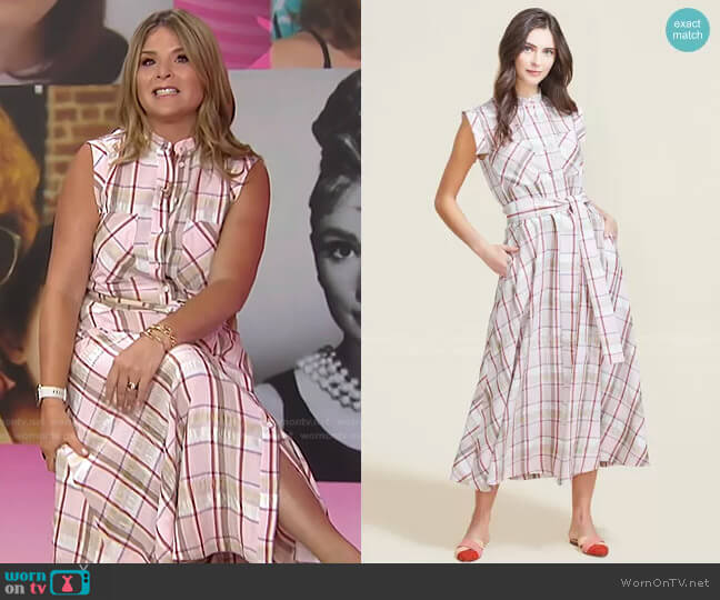 Plaid Crepe Belted Midi Dress by Pearl by Lela Rose worn by Jenna Bush Hager  on Today