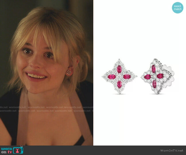 Princess Flower Stud Earrings by Roberto Coin worn by Audrey Hope (Emily Alyn Lind) on Gossip Girl