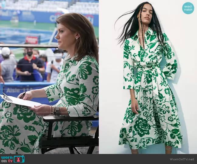 Printed Poplin Dress by Zara worn by Norah O'Donnell  on CBS Evening News