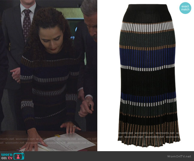 Horizontal-stripe Knitted Skirt by Proenza Schouler worn by Stephanie Nogueras on The Good Fight