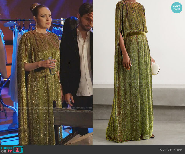 Cape-Effect Velvet-Trimmed Sequined Chiffon Gown by Reem Acra worn by Fallon Carrington (Elizabeth Gillies) on Dynasty
