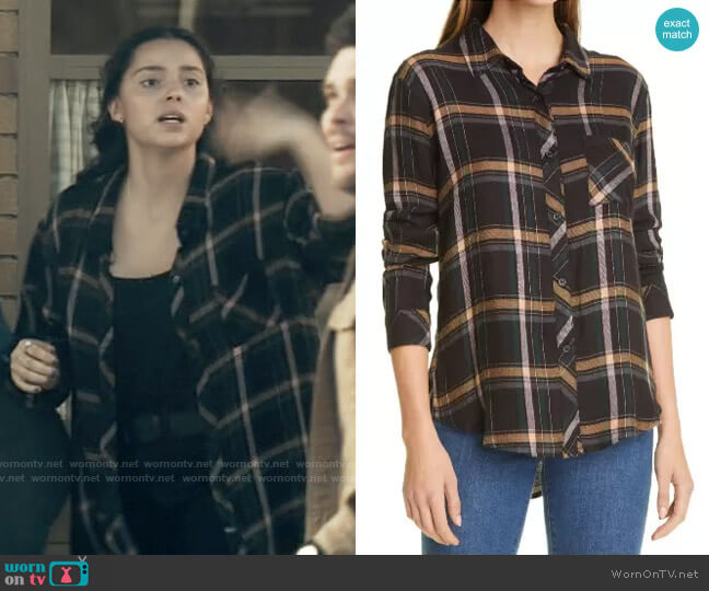 Rails Hunter Shirt in Midnight Teal / Mustard worn by Sarah on Superman and Lois