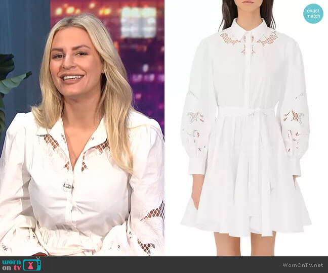 Rebello Cotton Lace Inset Shirt Dress by Maje worn by Morgan Stewart  on E! News