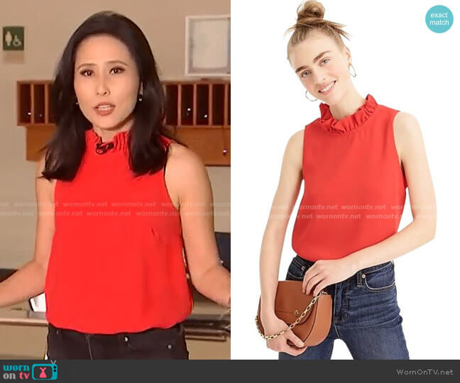 Ruffle-Neck Top in 365 crepe by J. Crew worn by Vicky Nguyen  on Today