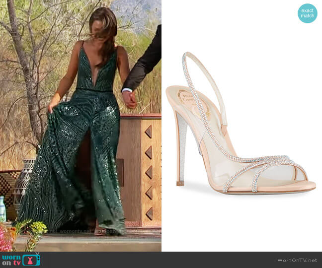 Strass Plexy Slingback Sandals by Rene Caovilla worn by Katie Thurston  on The Bachelorette