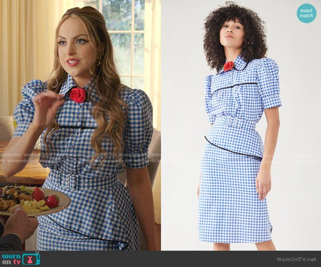 Gingham Puff Sleeve Blouse with Lace Trim and Skirt by Rodarte worn by Fallon Carrington (Elizabeth Gillies) on Dynasty