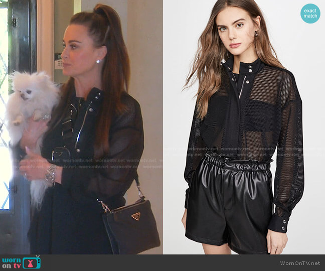 Josie Half-Zip Shirt by RtA worn by Kyle Richards  on The Real Housewives of Beverly Hills