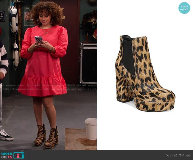 Abella Leopard-Print Platform Booties by Sam Edelman worn by Jade (Talia Jackson) on Family Reunion
