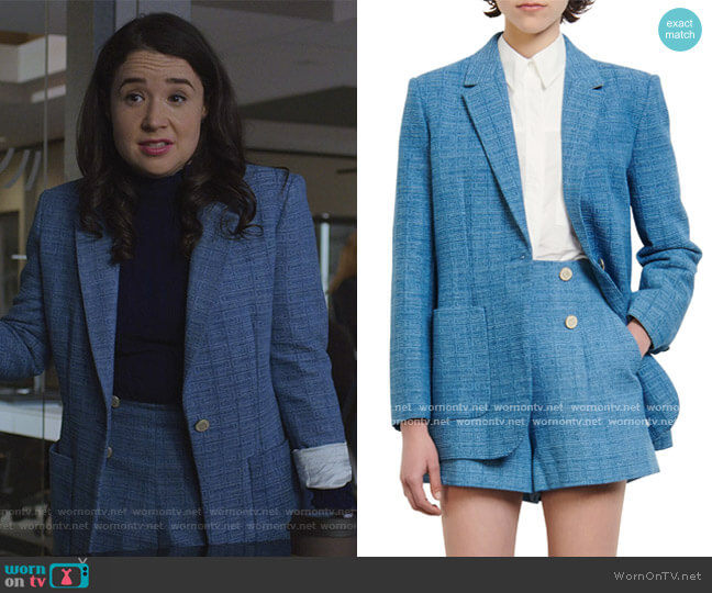 Double Breasted Blazer and Shorts by Sandro worn by Marissa Gold (Sarah Steele) on The Good Fight