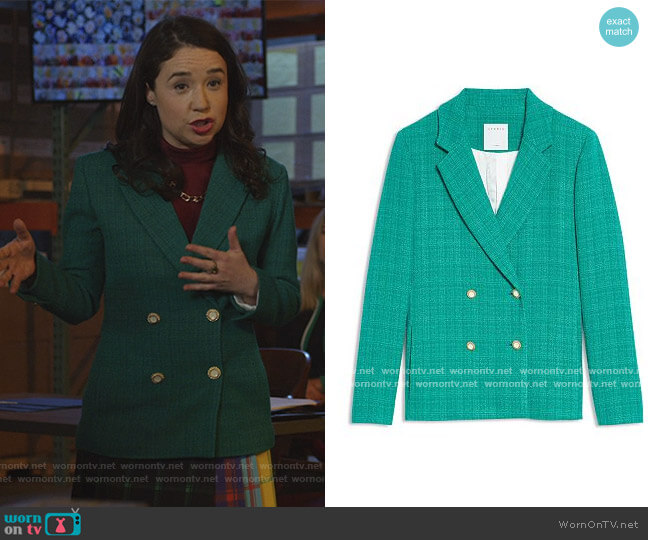 Jacy Tweed Double Breasted Blazer by Sandro worn by Marissa Gold (Sarah Steele) on The Good Fight