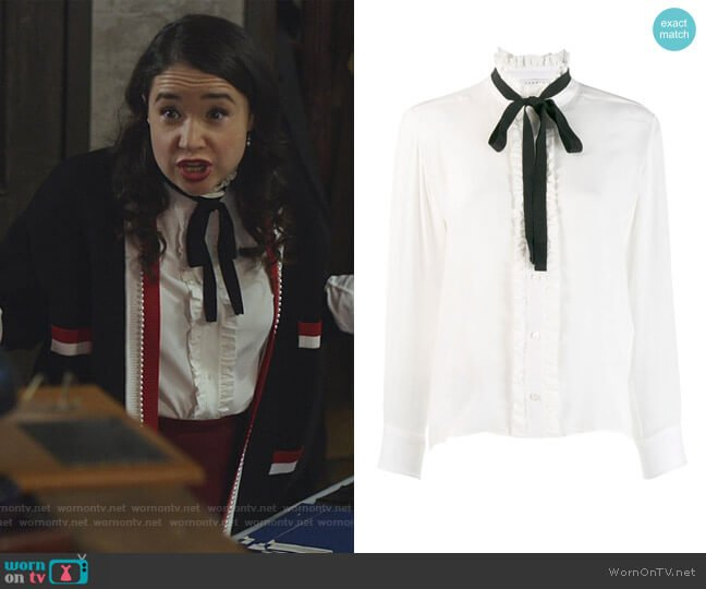 Silk Blouse with Ribbon by Sandro worn by Marissa Gold (Sarah Steele) on The Good Fight