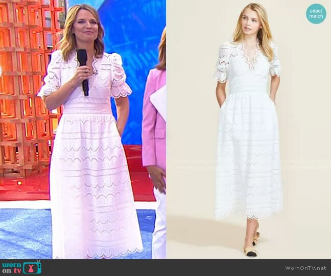Scallop Eyelet Smocked Midi Dress by Pearl by Lela Rose worn by Savannah Guthrie  on Today