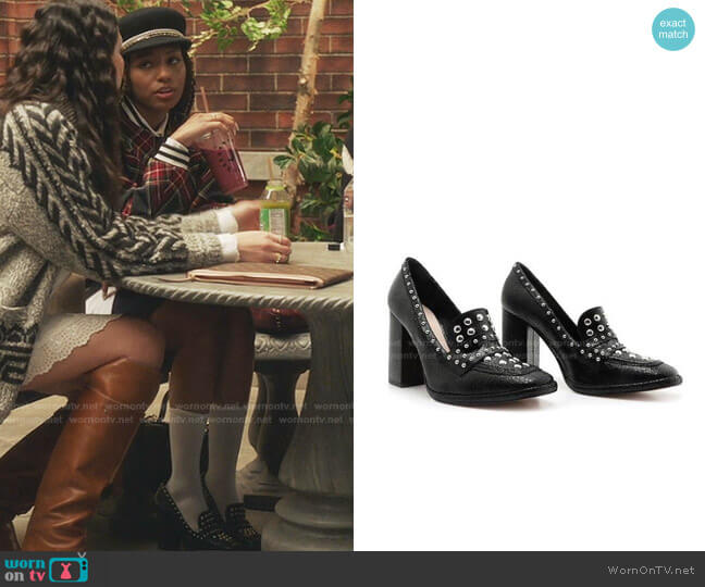 Shiny Studded Leather Loafer by Schutz worn by Monet de Haan (Savannah Lee Smith) on Gossip Girl