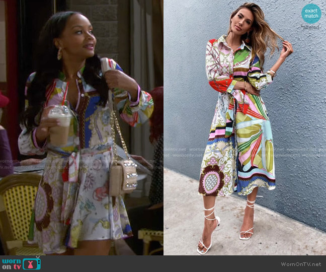 Chain And Scarf Print Belted Shirt Dress by Shein worn by Chanel Dupree (Raven Bowens) on Days of our Lives