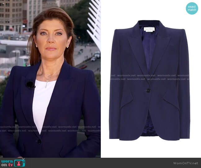Single-Breasted crêpe Blazer by Alexander McQueen worn by Norah O'Donnell  on CBS Evening News