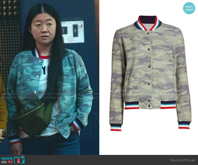 Camo Print Bomber Jacket by Sol Angeles worn by Alice Kwan (Sherry Cola) on Good Trouble
