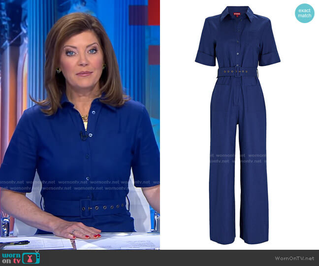 Zavey Belted Linen-Blend Jumpsuit by Staud worn by Norah O'Donnell  on CBS Evening News