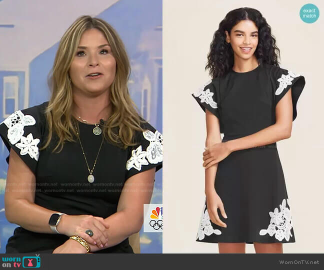 Stretch Cotton Lace Detail Dress by Pearl by Lela Rose worn by Jenna Bush Hager  on Today