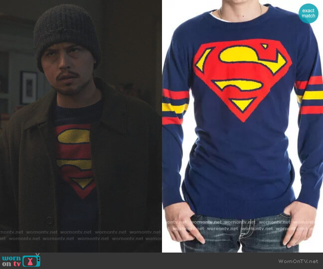 Superman Logo DC Comics Pullover by Bioworld worn by Jughead Jones (Cole Sprouse) on Riverdale
