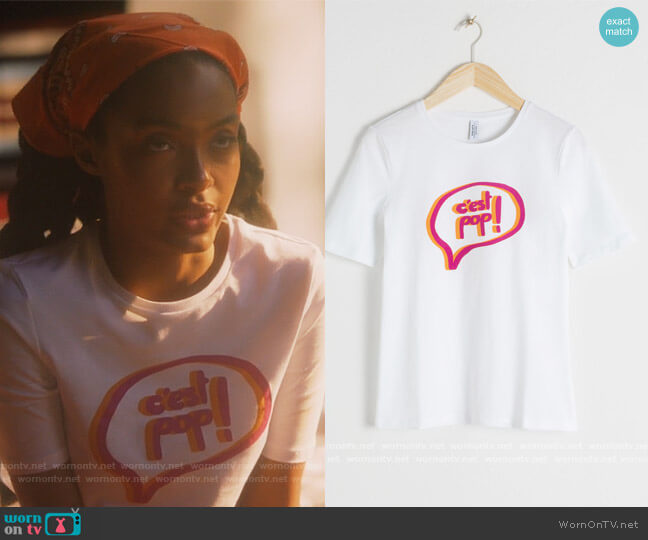 Cest Pop Organic Cotton Graphic Tee by & Other Stories worn by Zoey Johnson (Yara Shahidi) on Grown-ish