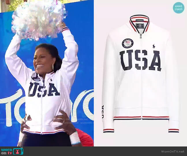 Team USA Bomber Track Jacket by Polo Ralph Lauren worn by Sheinelle Jones  on Today