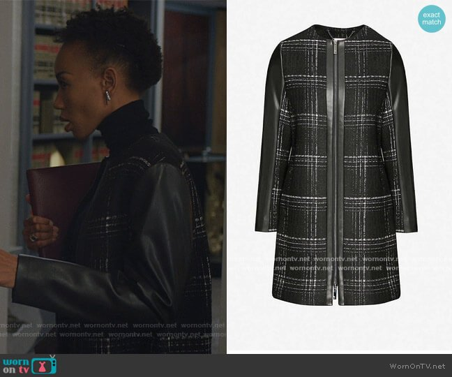 Faux-leather-trimmed checked woven jacket by Ted Baker worn by Charmaine Bingwa on The Good Fight