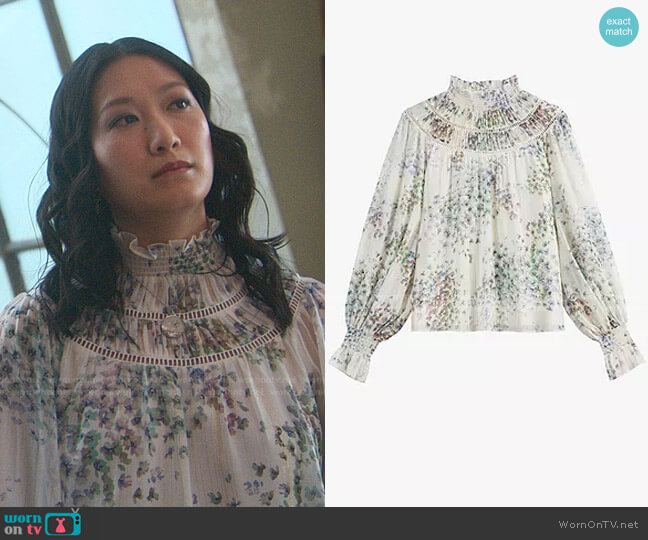 Floral Print Gathered Neck Top by Ted Baker worn by Kara Wang on Good Trouble