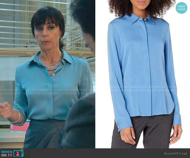 Classic Fitted Shirt by Theory worn by Kathleen Gale (Constance Zimmer) on Good Trouble