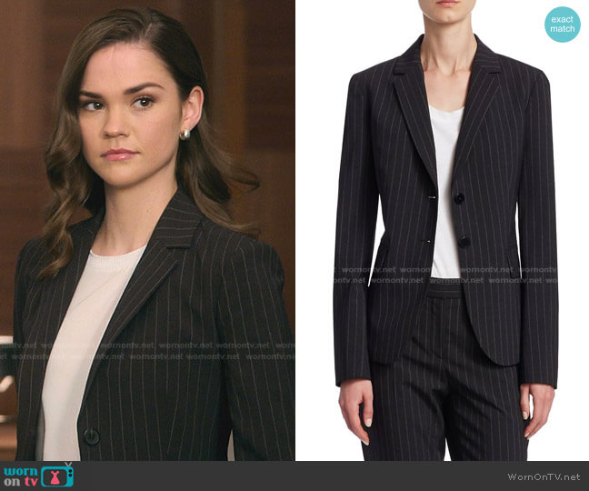 Carissa Pinstripe Blazer by Theory worn by Callie Foster (Maia Mitchell) on Good Trouble