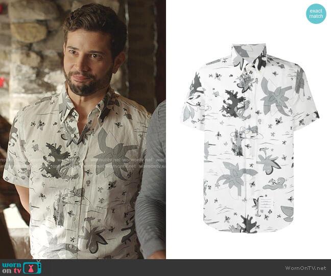 Short Sleeve Hawaiian Shirt by Thom Browne worn by Sam Flores (Rafael de la Fuente) on Dynasty